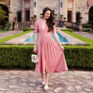 NWT Pink Flower Love Of My Life Tie Midi Dress
